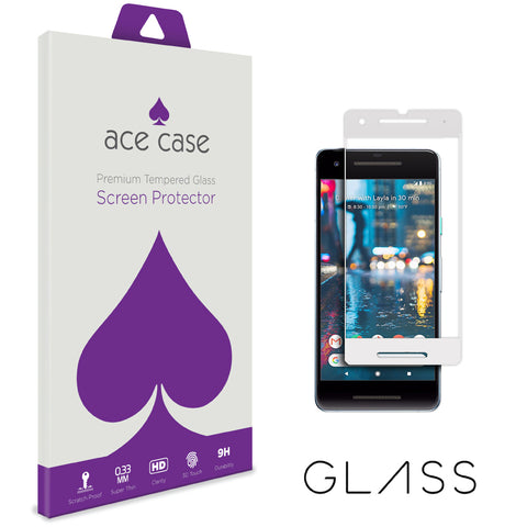 Google Pixel 2 Tempered Glass Screen Protector - WHITE Full 3D Edge to Edge Coverage by Ace Case