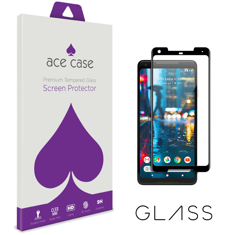 Google Pixel 2 XL Tempered Glass Screen Protector - BLACK Full 3D Edge to Edge Coverage by Ace Case
