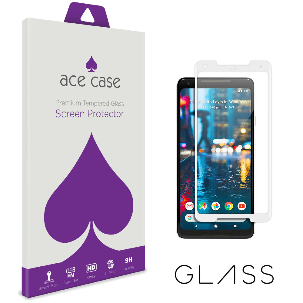 Google Pixel 2 XL Tempered Glass Screen Protector - WHITE Full 3D Edge to Edge Coverage by Ace Case