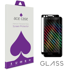 Google Pixel 3 Tempered Glass Screen Protector - BLACK Full 3D Edge to Edge Coverage by Ace Case