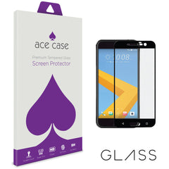 HTC 10 Tempered Glass Screen Protector - BLACK Full 3D Edge to Edge Coverage by Ace Case