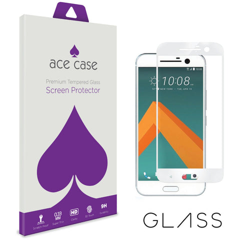 HTC 10 Tempered Glass Screen Protector - WHITE Full 3D Edge to Edge Coverage by Ace Case