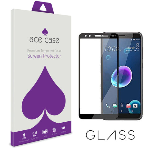 HTC Desire 12 Tempered Glass Screen Protector - BLACK Full 3D Edge to Edge Coverage by Ace Case