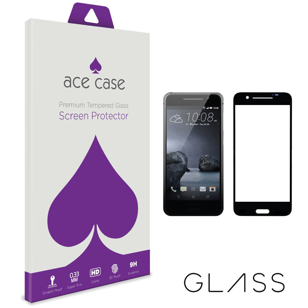 HTC One A9 Tempered Glass Screen Protector - BLACK Full 3D Edge to Edge Coverage by Ace Case