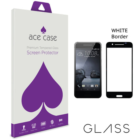 HTC One A9 Tempered Glass Screen Protector - WHITE Full 3D Edge to Edge Coverage by Ace Case