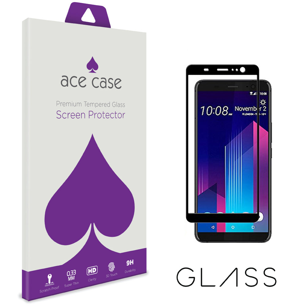 HTC U11 PLUS Tempered Glass Screen Protector - BLACK Full 3D Edge to Edge Coverage by Ace Case