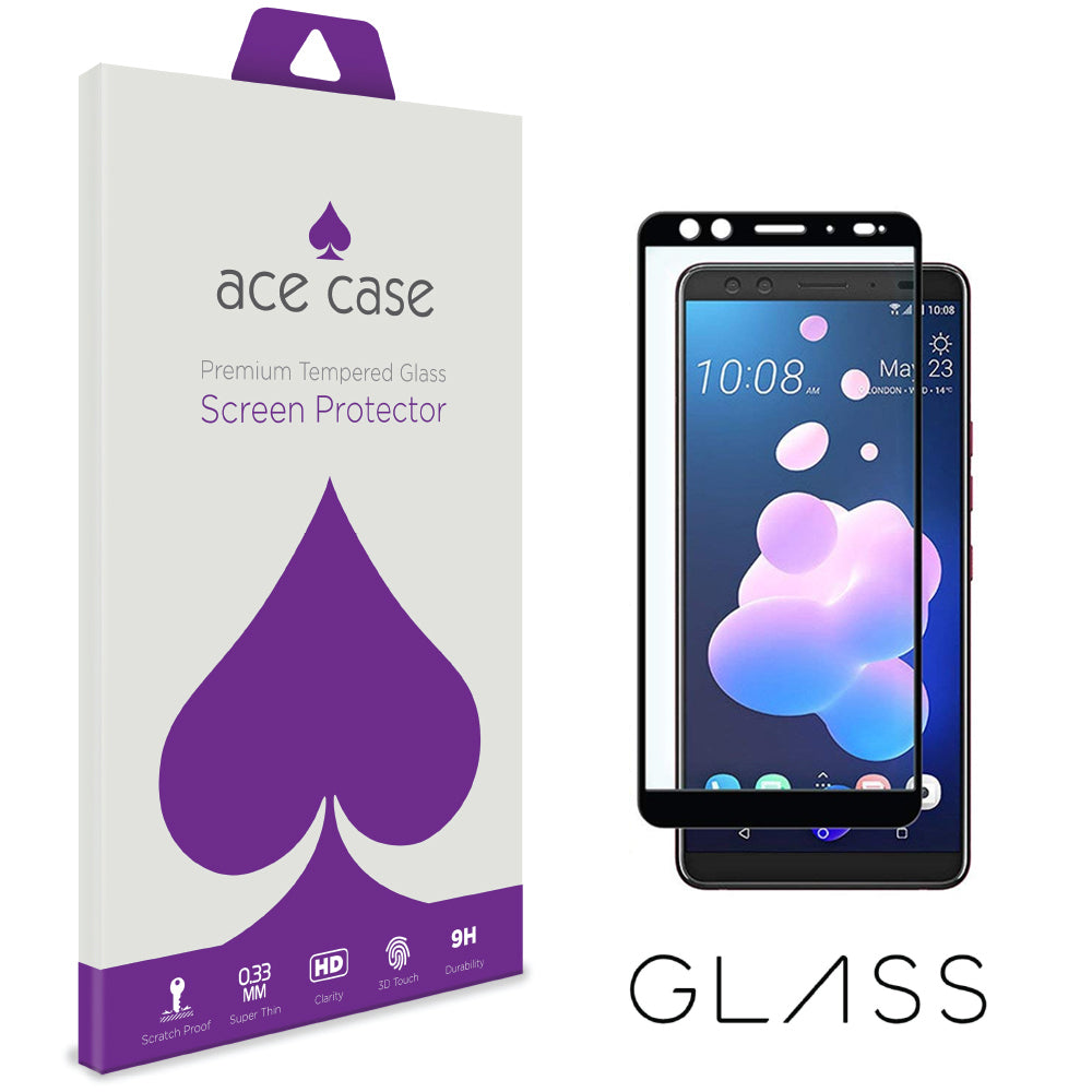 HTC U12 PLUS Tempered Glass Screen Protector - BLACK Full 3D Edge to Edge Coverage by Ace Case