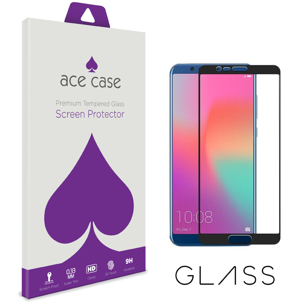 Huawei Honor VIEW 10 Tempered Glass Screen Protector - BLACK Full 3D Edge to Edge Coverage by Ace Case