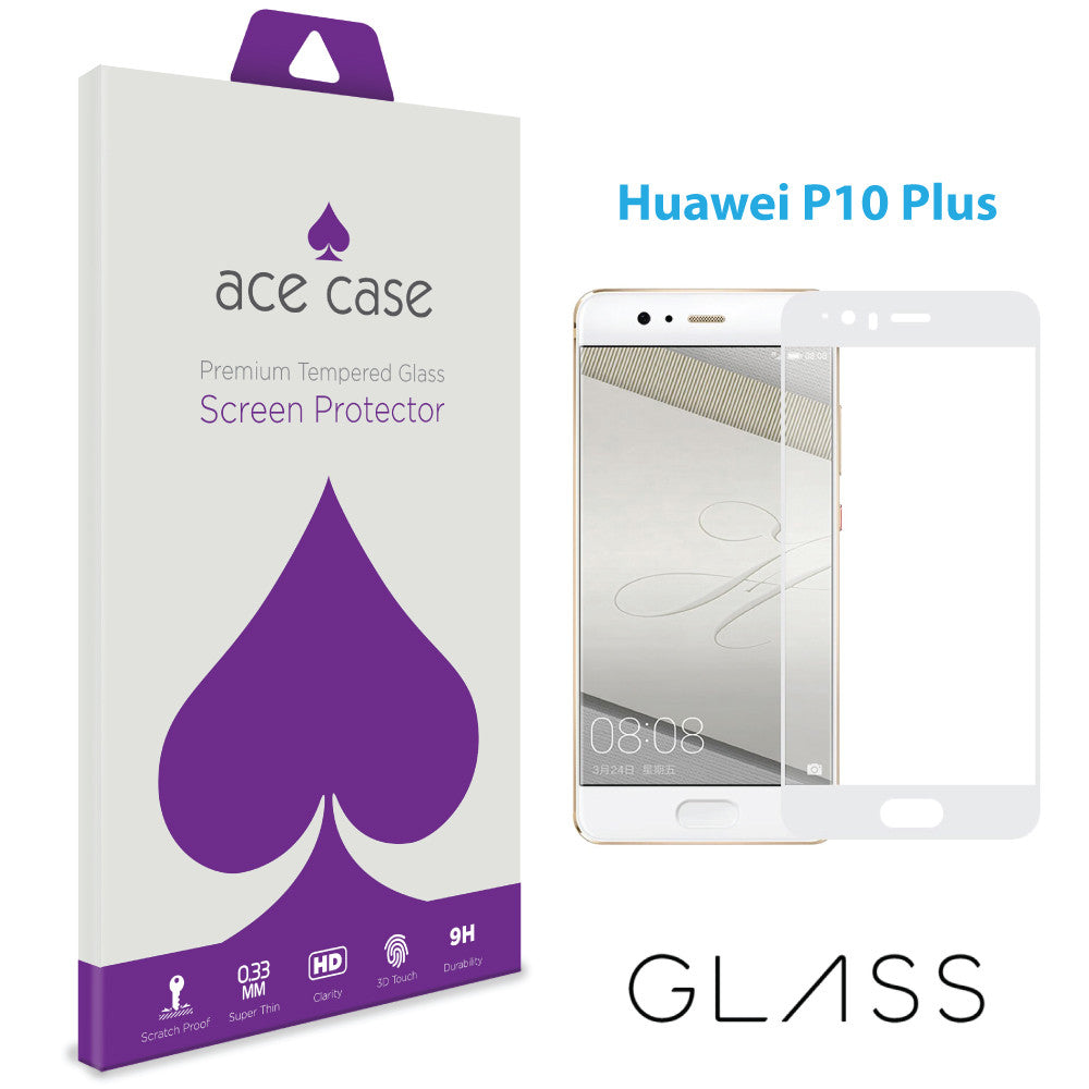Huawei P10 PLUS Tempered Glass Screen Protector - WHITE Full 3D Edge to Edge Coverage by Ace Case