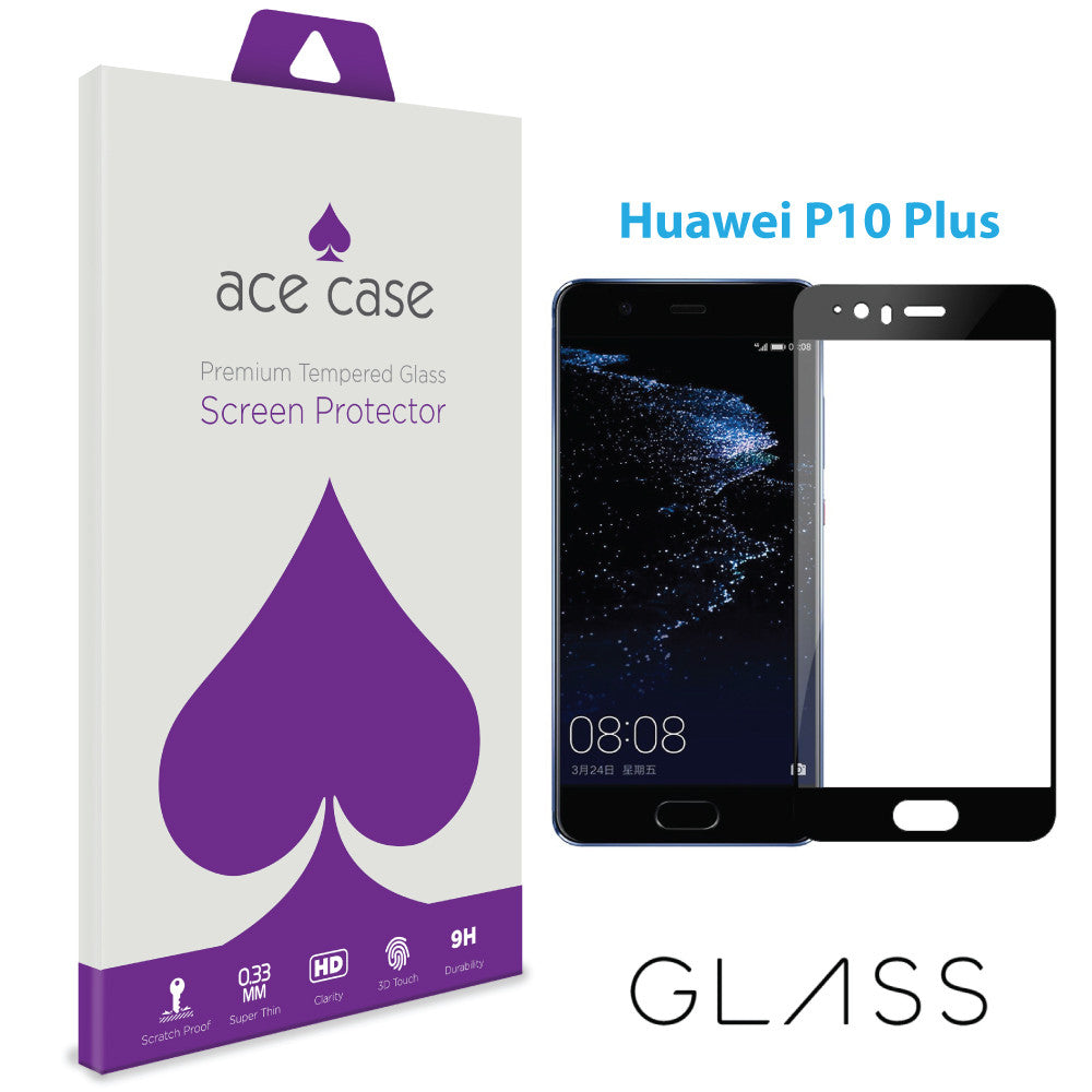 Huawei P10 PLUS Tempered Glass Screen Protector - BLACK Full 3D Edge to Edge Coverage by Ace Case