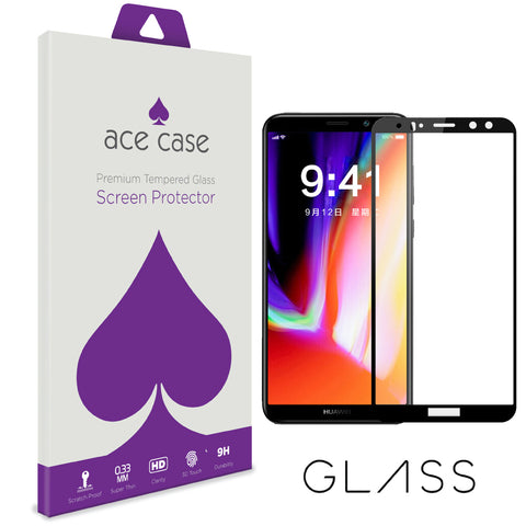 Huawei Honor 10 Tempered Glass Screen Protector - BLACK Full 3D Edge to Edge Coverage by Ace Case