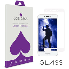 Huawei Honor 6A Tempered Glass Screen Protector - WHITE Full 3D Edge to Edge Coverage by Ace Case