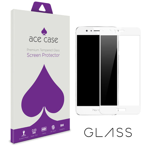 Huawei Honor 8 Pro (also known as Huawei V9) Tempered Glass Screen Protector - WHITE Full 3D Edge to Edge Coverage by Ace Case