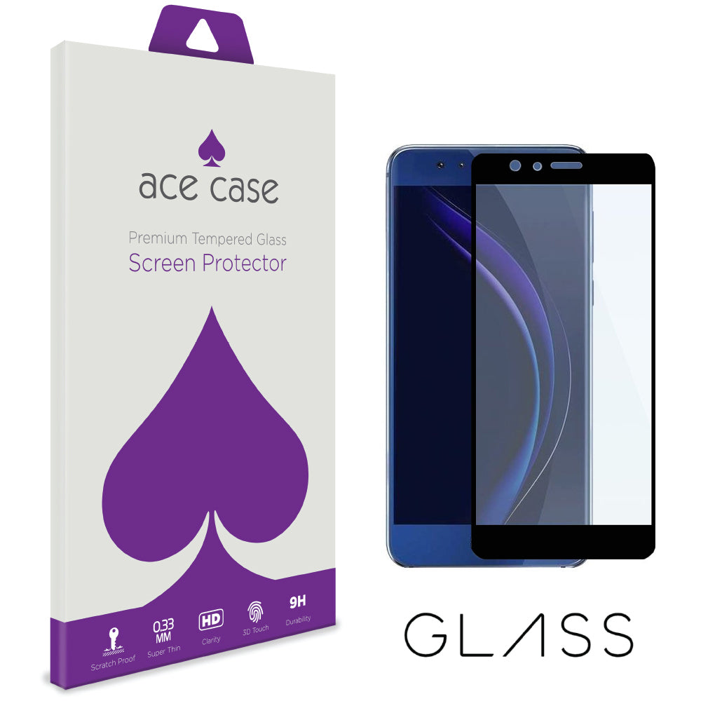 Huawei Honor 9 Tempered Glass Screen Protector - BLACK Full 3D Edge to Edge Coverage by Ace Case