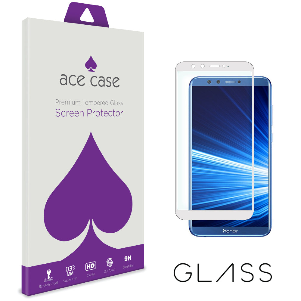 Huawei Honor 9 Lite Tempered Glass Screen Protector - WHITE Full 3D Edge to Edge Coverage by Ace Case