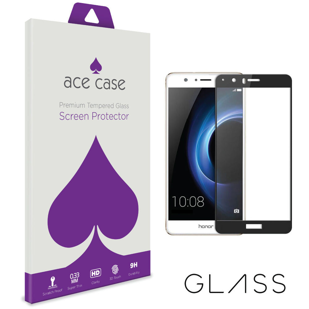 Huawei Honor V8 Tempered Glass Screen Protector - BLACK Full 3D Edge to Edge Coverage by Ace Case