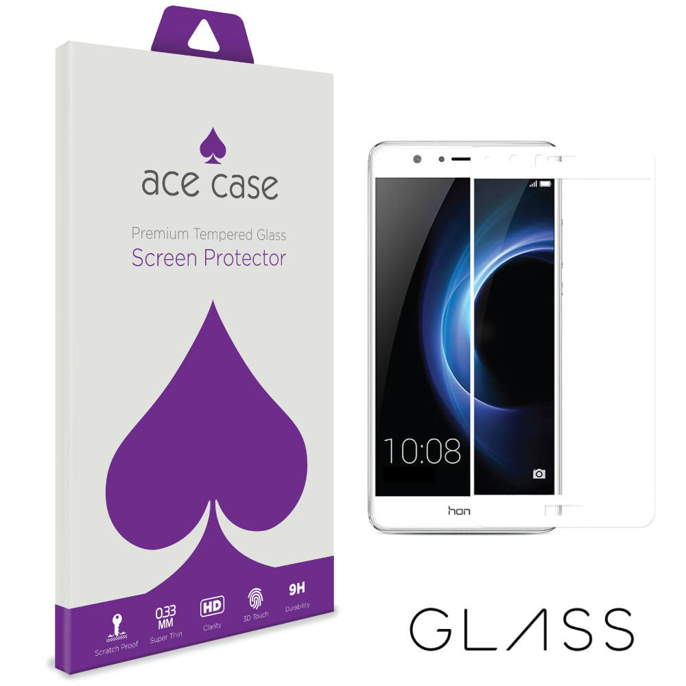 Huawei Honor V8 Tempered Glass Screen Protector - WHITE Full 3D Edge to Edge Coverage by Ace Case