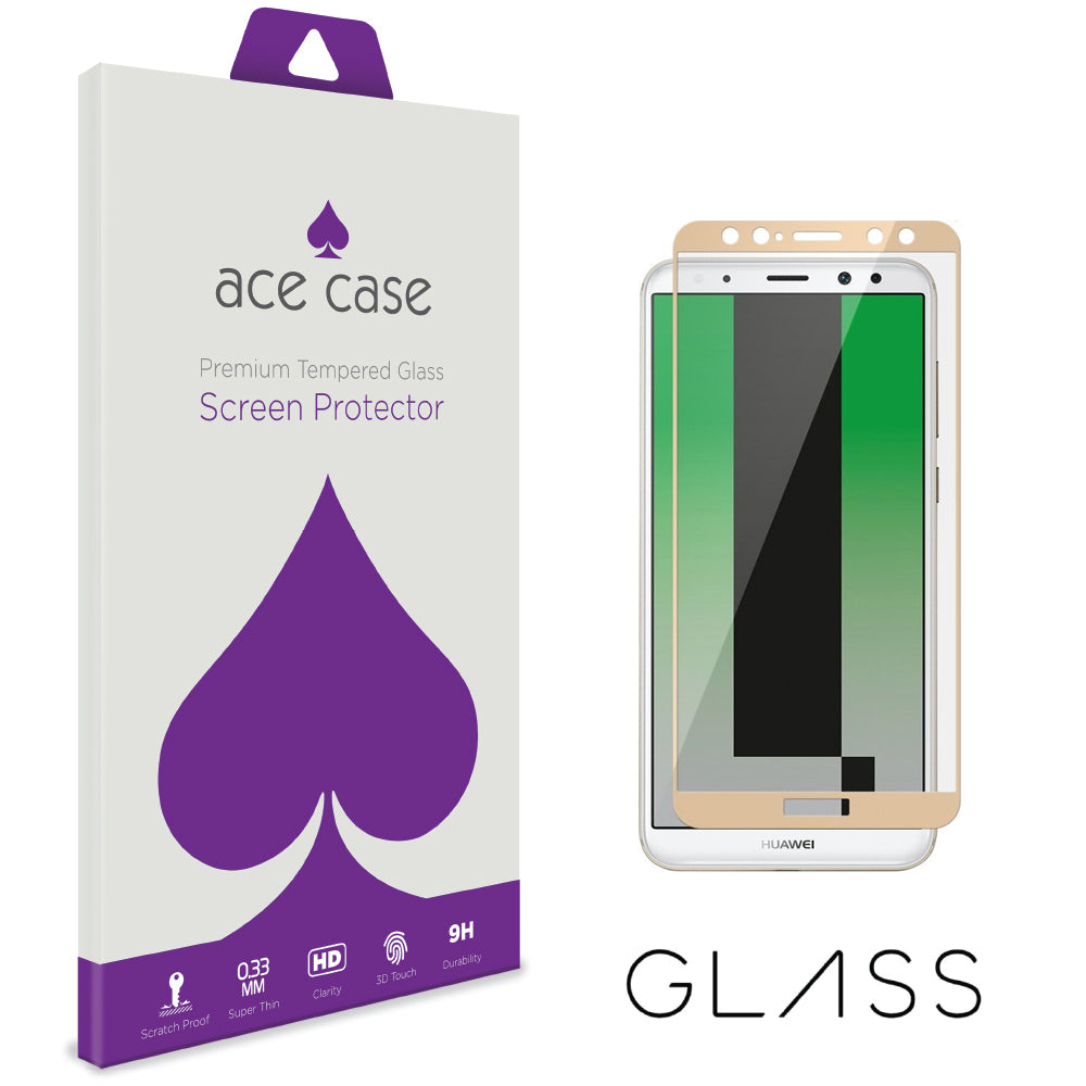 Huawei Mate 10 Tempered Glass Screen Protector - GOLD Full 3D Edge to Edge Coverage by Ace Case