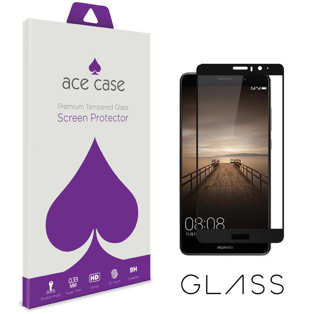 Huawei Mate 9 Tempered Glass Screen Protector - BLACK Full 3D Edge to Edge Coverage by Ace Case