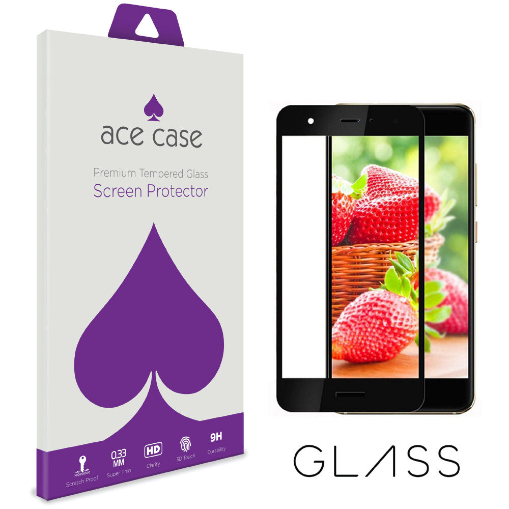 Huawei Nova Tempered Glass Screen Protector - BLACK Full 3D Edge to Edge Coverage by Ace Case