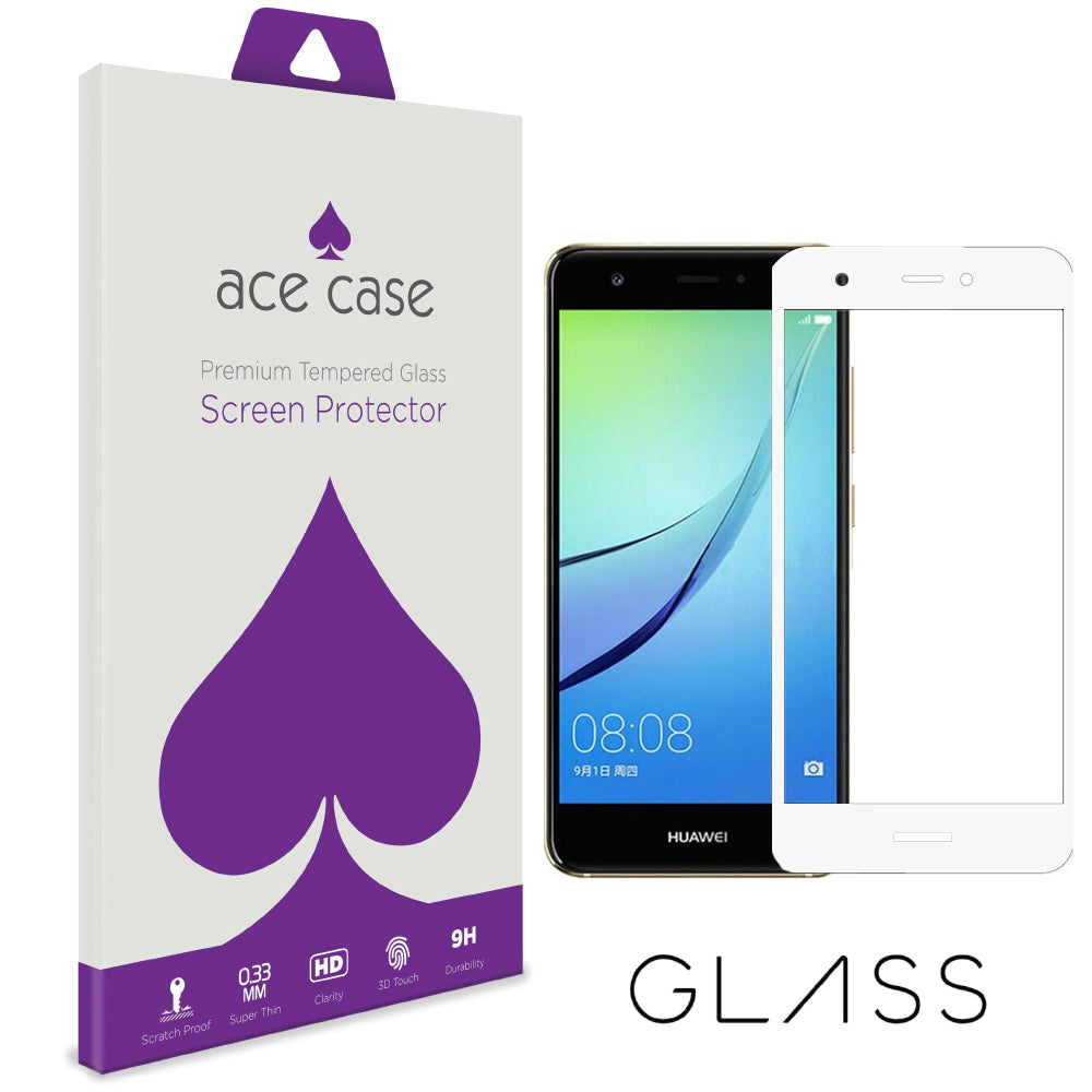 Huawei Nova 2 Plus Tempered Glass Screen Protector - WHITE Full 3D Edge to Edge Coverage by Ace Case