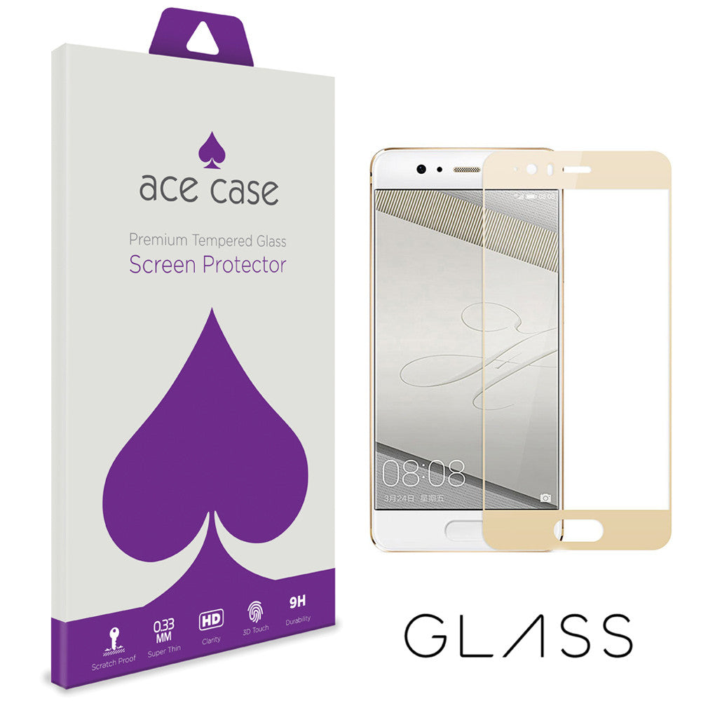 Huawei P10 Tempered Glass Screen Protector - GOLD Full 3D Edge to Edge Coverage by Ace Case