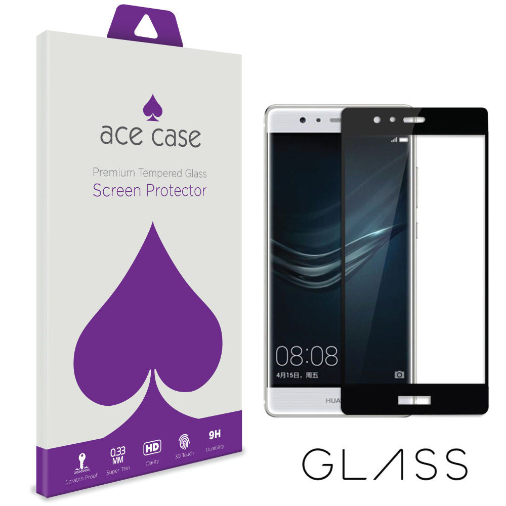 Huawei P9 PLUS Tempered Glass Screen Protector - BLACK Full 3D Edge to Edge Coverage by Ace Case