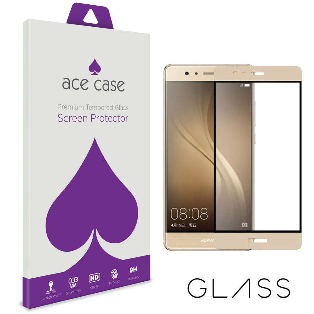 Huawei P9 PLUS Tempered Glass Screen Protector - GOLD Full 3D Edge to Edge Coverage by Ace Case