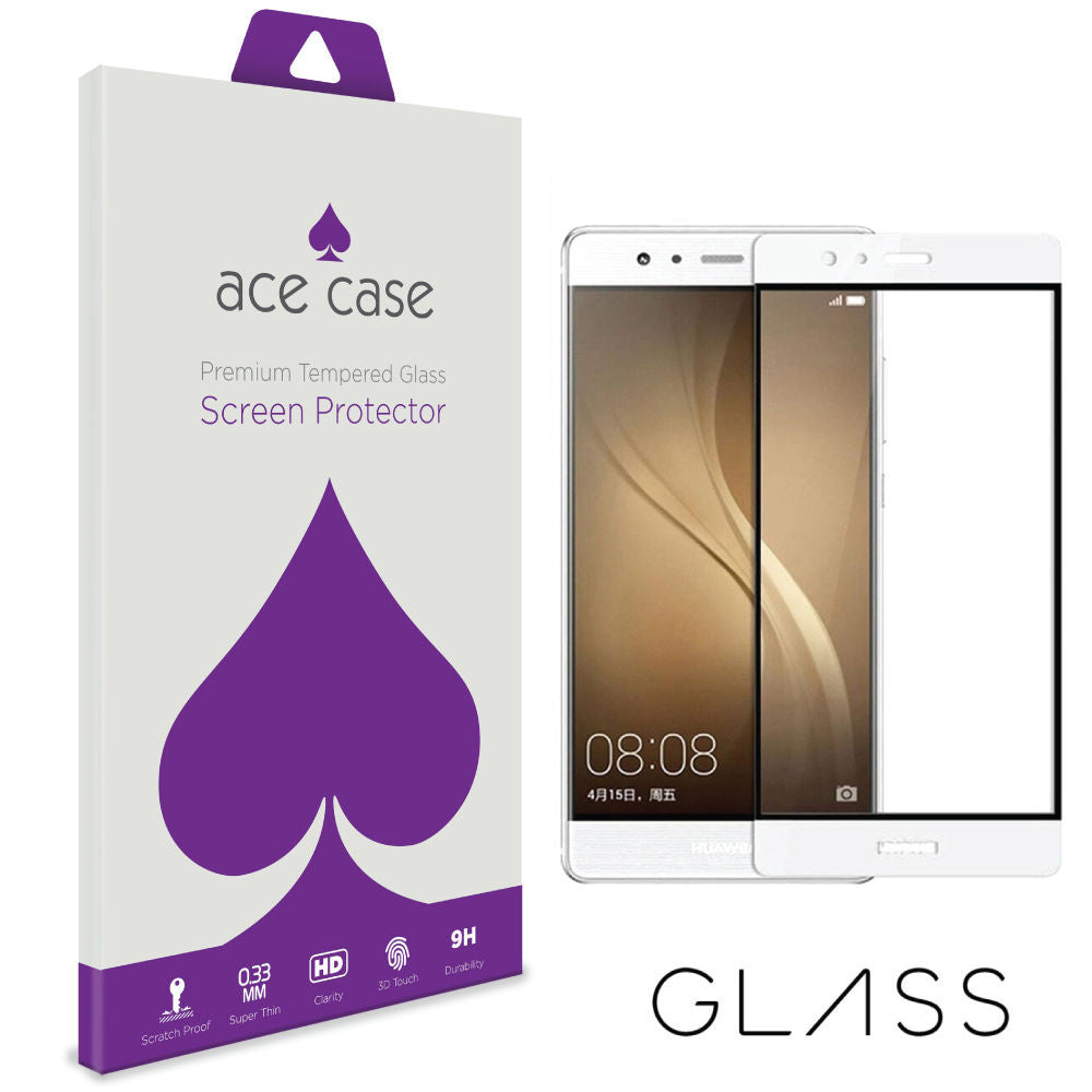 Huawei P9 PLUS Tempered Glass Screen Protector - WHITE Full 3D Edge to Edge Coverage by Ace Case