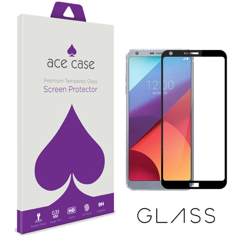 LG G6 Tempered Glass Screen Protector - BLACK Full 3D Edge to Edge Coverage by Ace Case