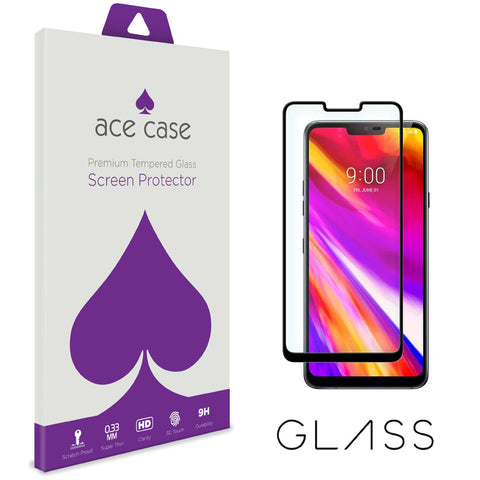 LG G7 ThinQ Tempered Glass Screen Protector - BLACK Full 3D Edge to Edge Coverage by Ace Case