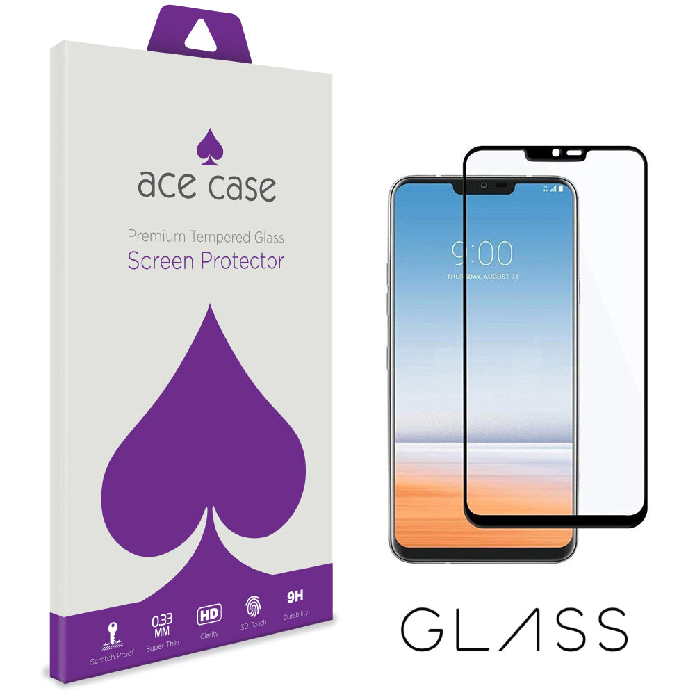 LG Q7 Tempered Glass Screen Protector - BLACK Full 3D Edge to Edge Coverage by Ace Case