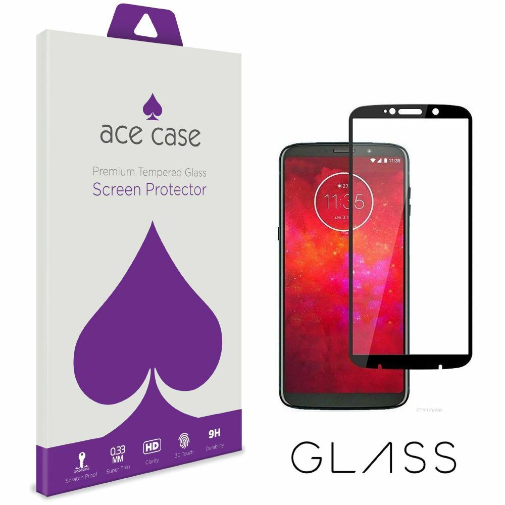 MOTO Z3 Play Tempered Glass Screen Protector - BLACK Full 3D Edge to Edge Coverage by Ace Case