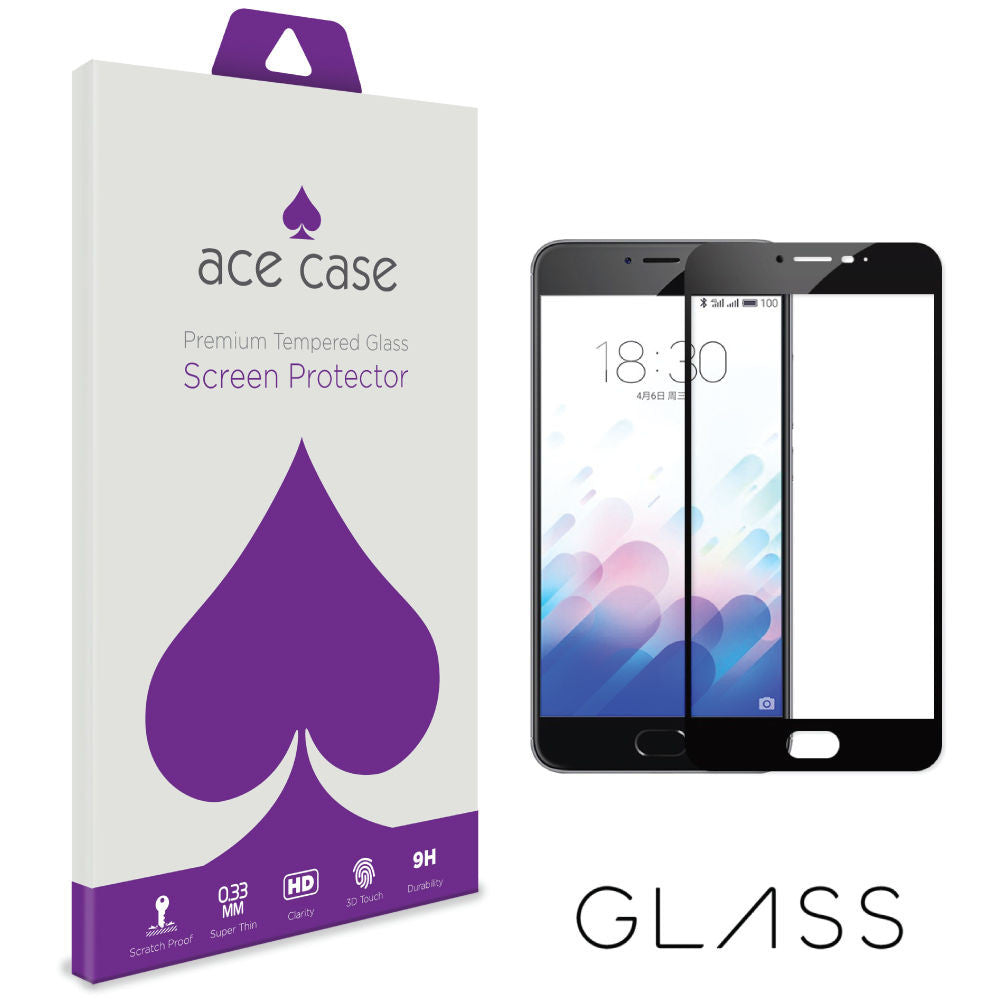 Meizu M3 Note Tempered Glass Screen Protector - BLACK Full 3D Edge to Edge Coverage by Ace Case