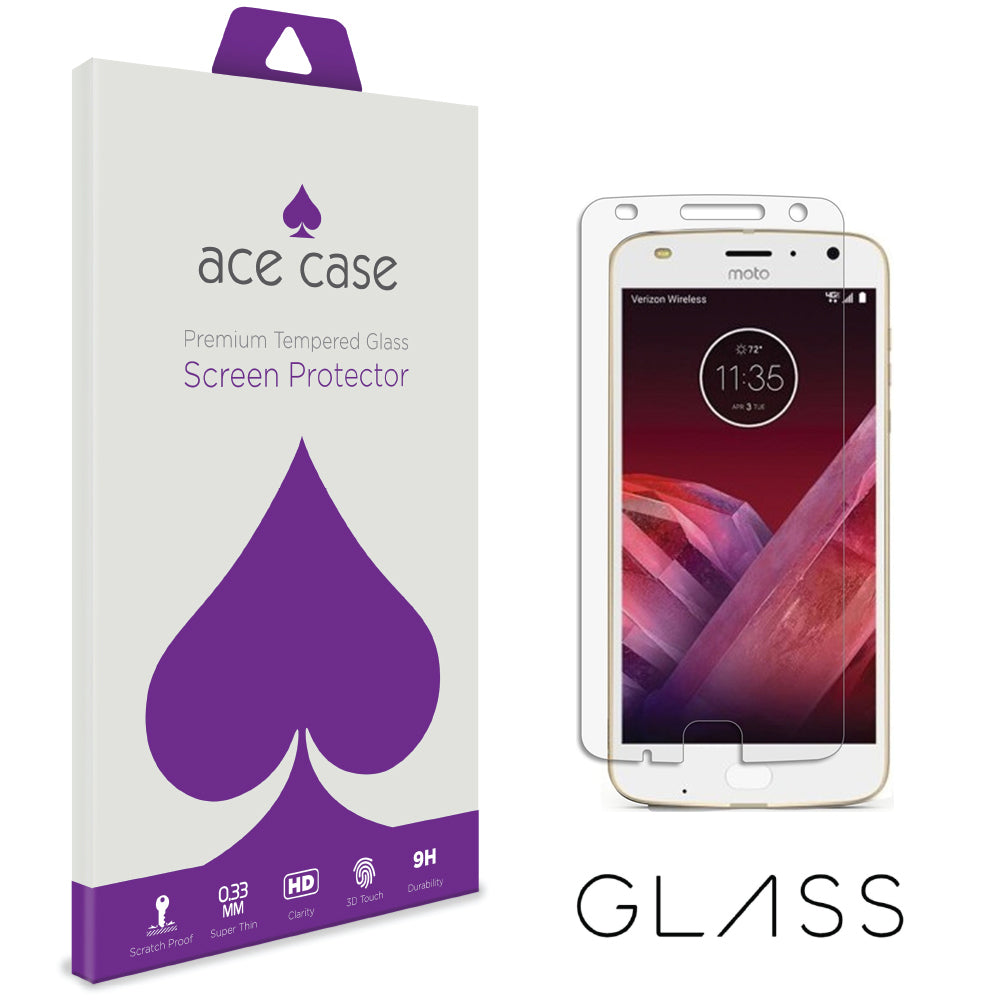 Moto Z2 Play Tempered Glass Screen Protector by Ace Case