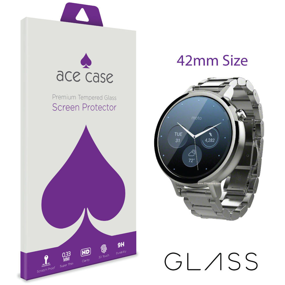 Motorola Moto 360 42mm (2nd gen) Tempered Glass Screen Protector by Ace Case