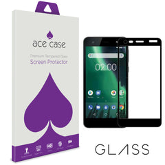 Nokia 2 Tempered Glass Screen Protector - BLACK Full 3D Edge to Edge Coverage by Ace Case