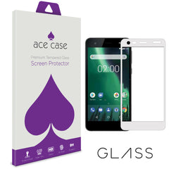 Nokia 2 Tempered Glass Screen Protector - WHITE Full 3D Edge to Edge Coverage by Ace Case