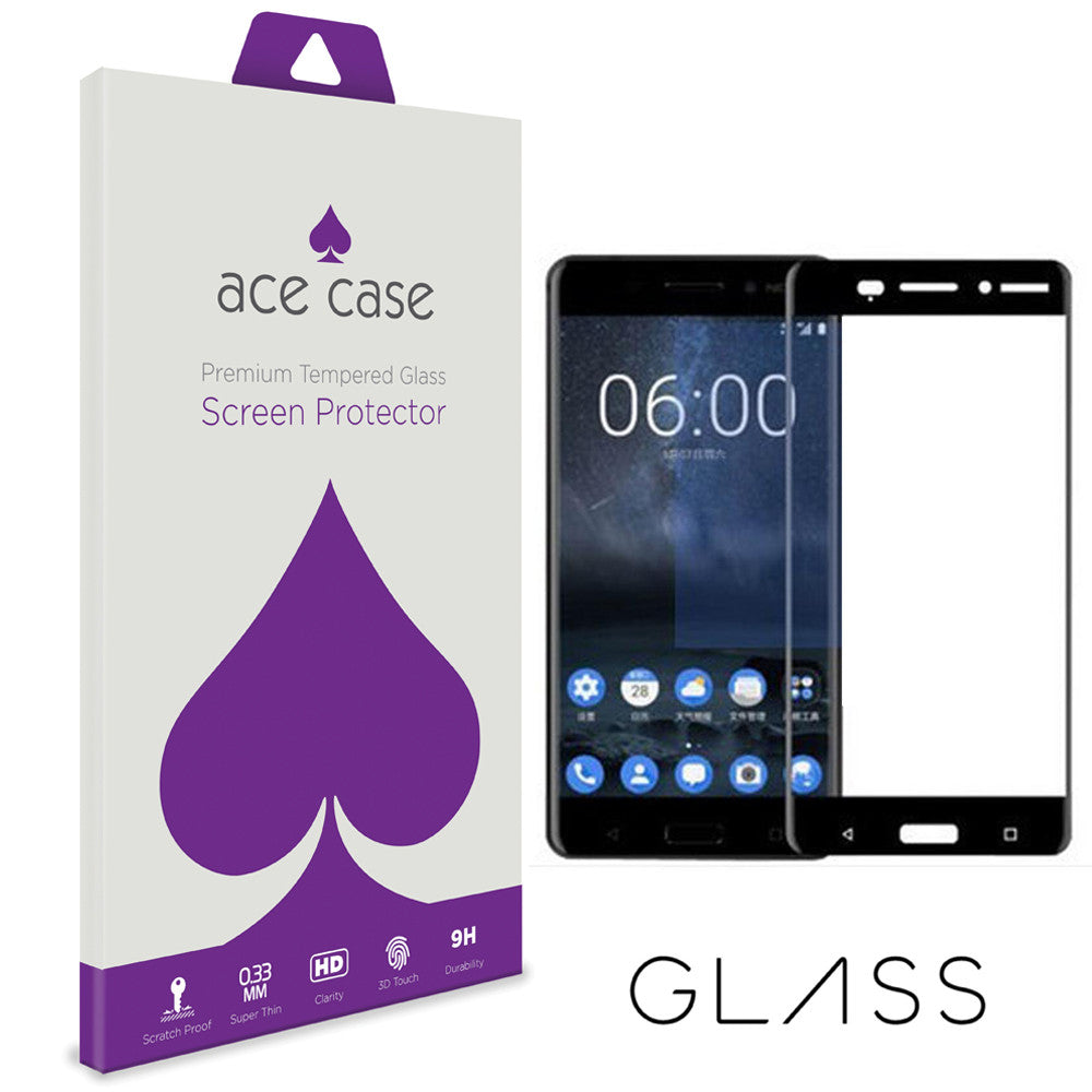 Nokia 6 Tempered Glass Screen Protector - BLACK Full 3D Edge to Edge Coverage by Ace Case