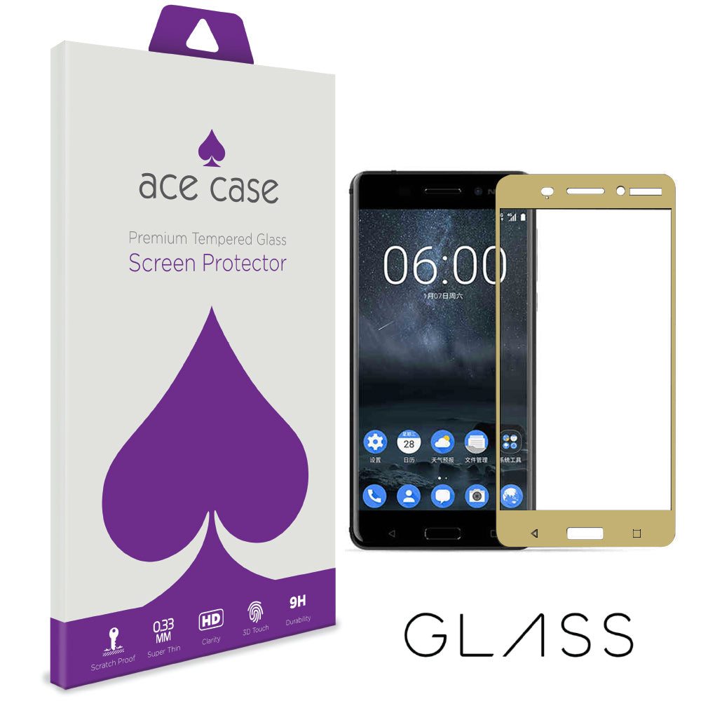 Nokia 6 Tempered Glass Screen Protector - GOLD Full 3D Edge to Edge Coverage by Ace Case