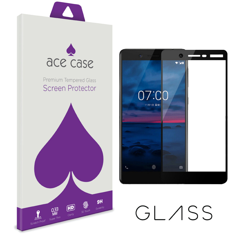 Nokia 7 Tempered Glass Screen Protector - BLACK Full 3D Edge to Edge Coverage by Ace Case