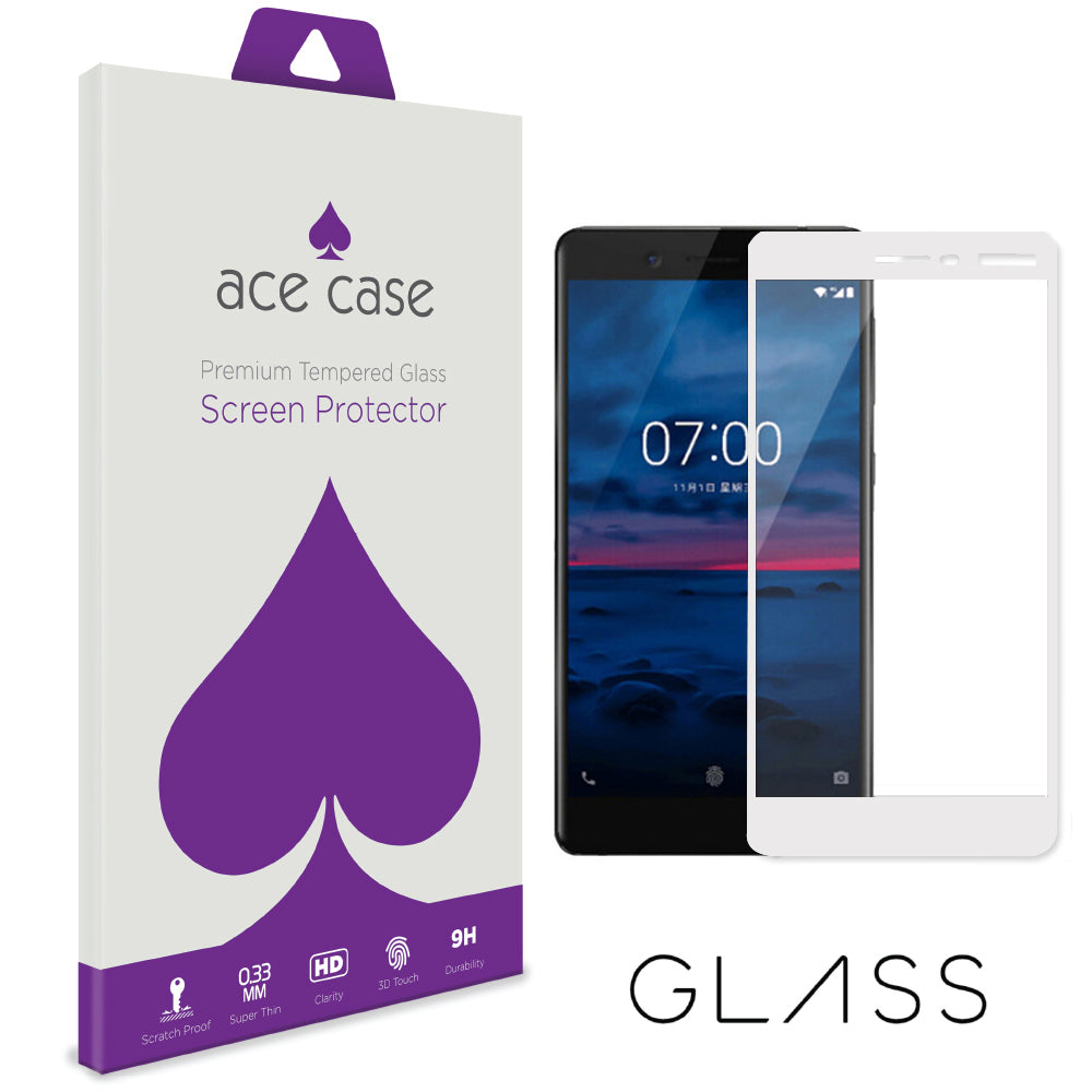 Nokia 7 Tempered Glass Screen Protector - WHITE Full 3D Edge to Edge Coverage by Ace Case