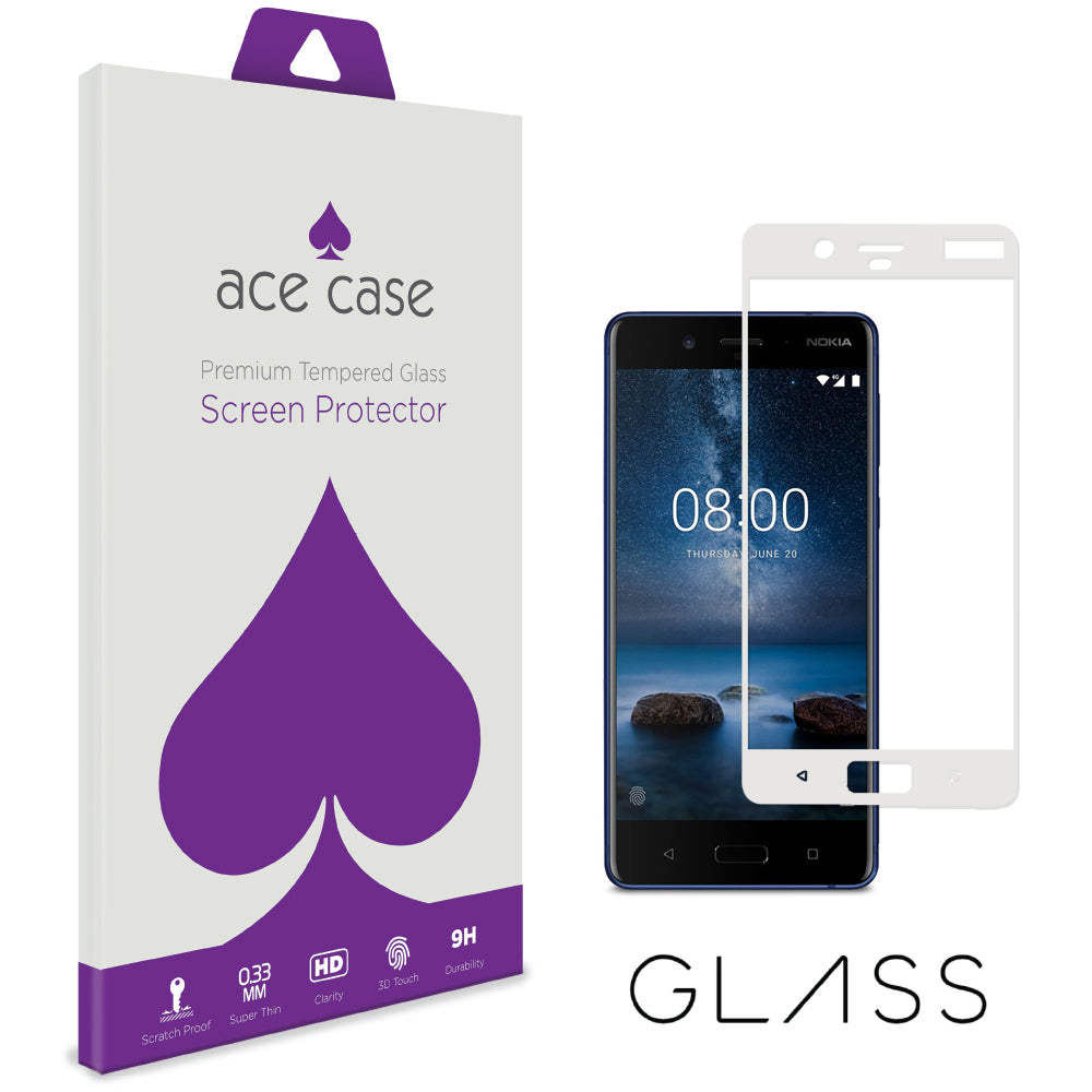 Nokia 8 Tempered Glass Screen Protector - WHITE Full 3D Edge to Edge Coverage by Ace Case