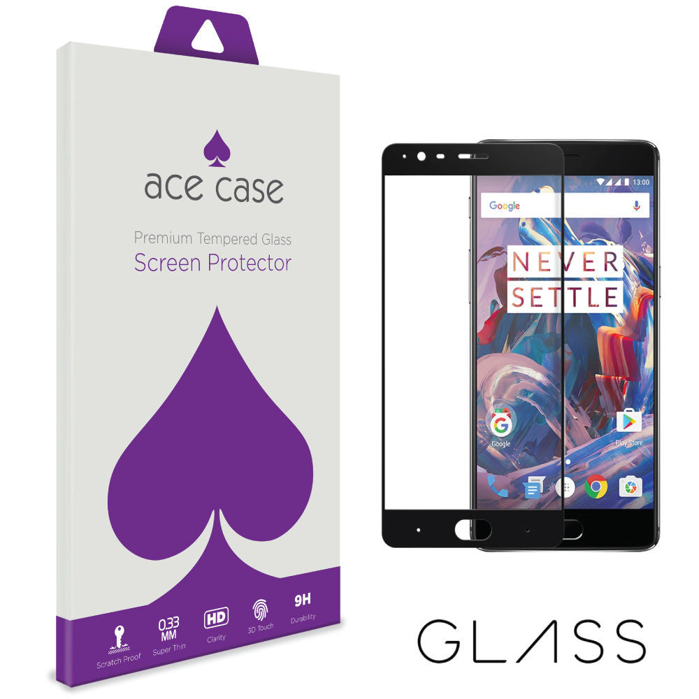 OnePlus 3 Tempered Glass Screen Protector - BLACK Full 3D Edge to Edge Coverage by Ace Case