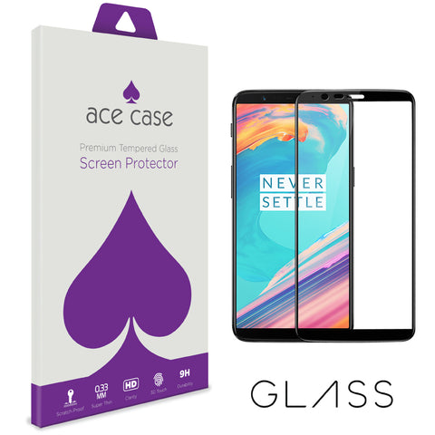 OnePlus 5T Tempered Glass Screen Protector - BLACK Full 3D Edge to Edge Coverage by Ace Case