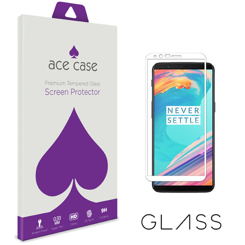 OnePlus 5T Tempered Glass Screen Protector - WHITE Full 3D Edge to Edge Coverage by Ace Case