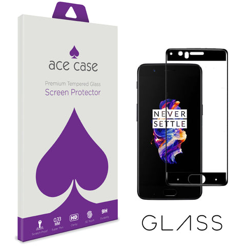 OnePlus 5 Tempered Glass Screen Protector - BLACK Full 3D Edge to Edge Coverage by Ace Case