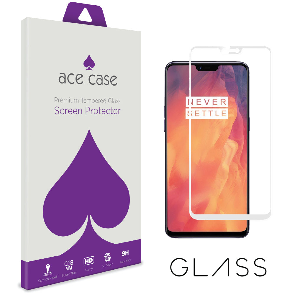 Oneplus 6 Tempered Glass Screen Protector - WHITE Full 3D Edge to Edge Coverage by Ace Case