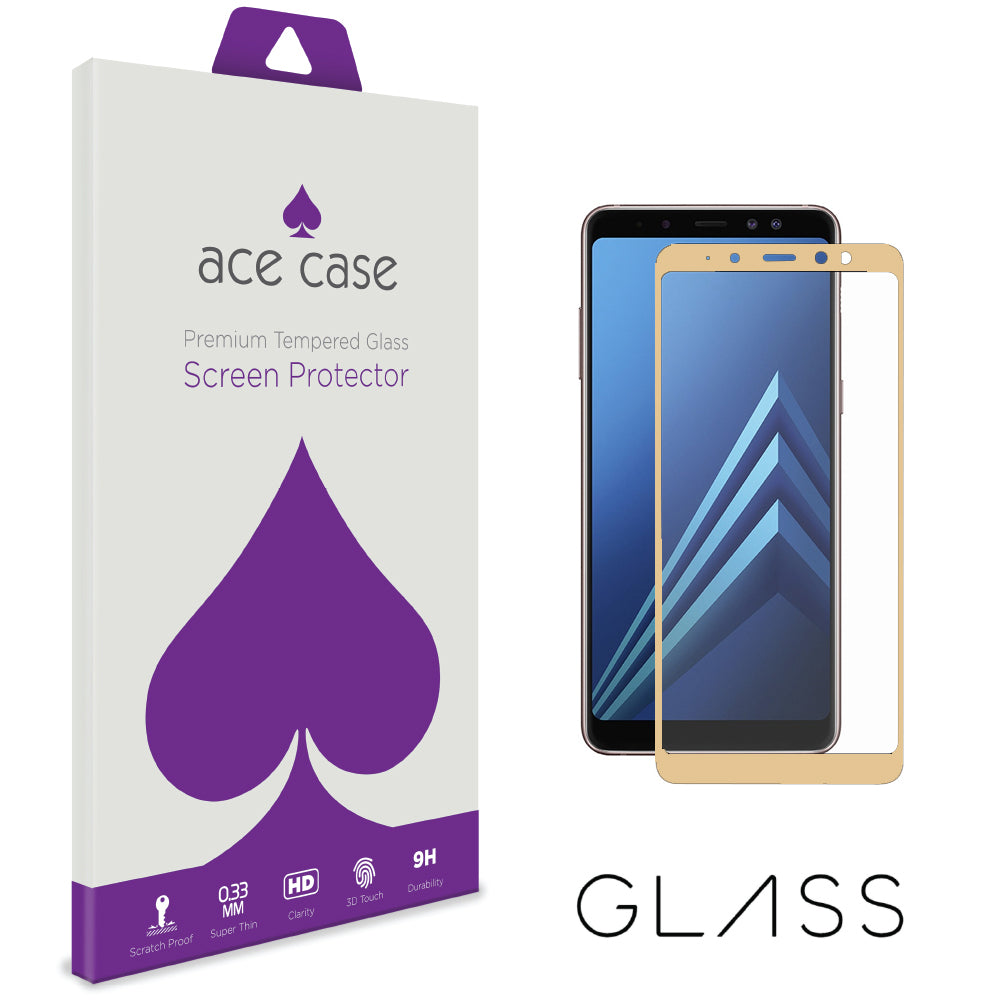 Samsung Galaxy A8 2018 Tempered Glass Screen Protector - GOLD Full 3D Edge to Edge Coverage by Ace Case