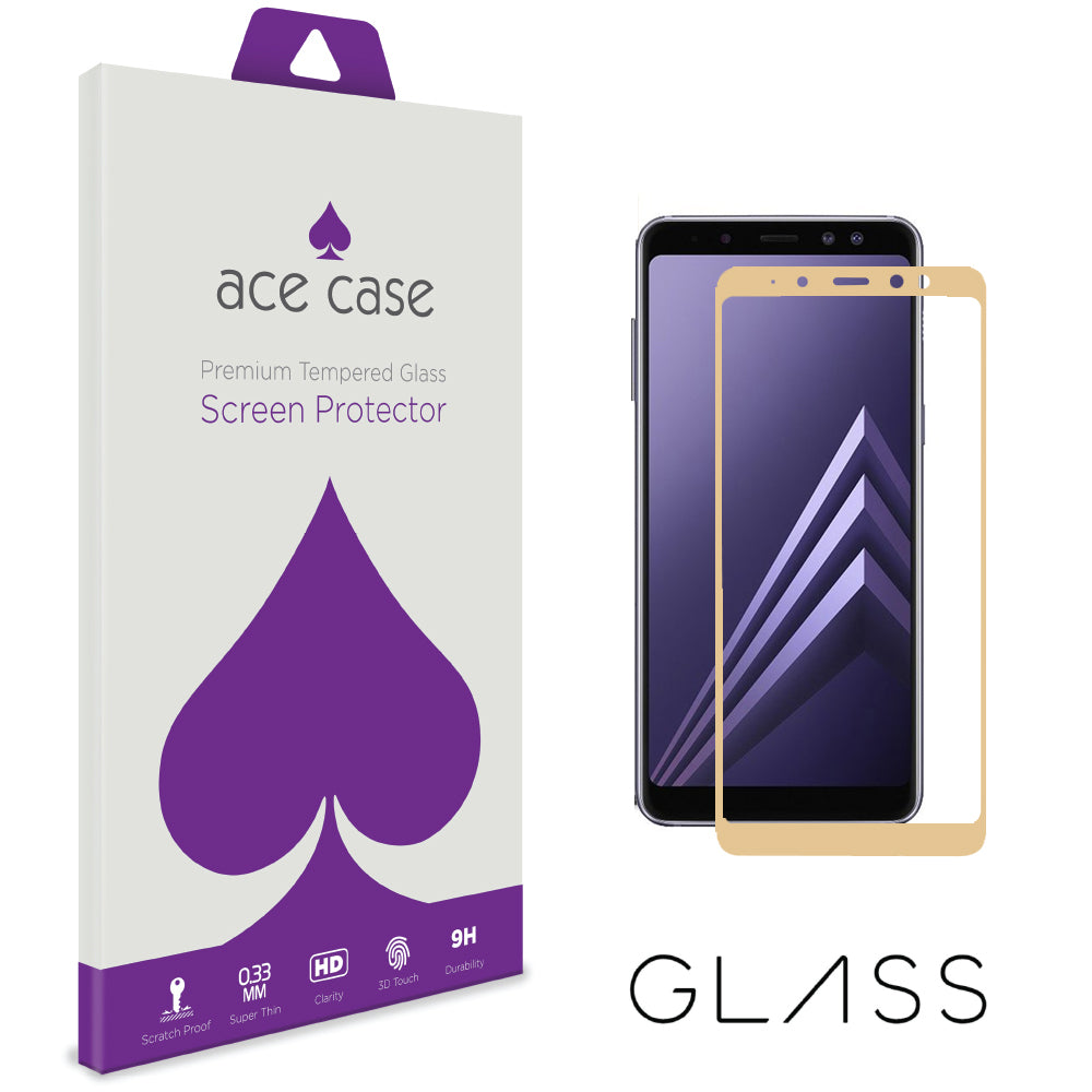 Samsung Galaxy A8 PLUS 2018 Tempered Glass Screen Protector - GOLD Full 3D Edge to Edge Coverage by Ace Case
